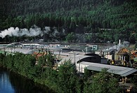 Aerial of large sawmill, Idaho