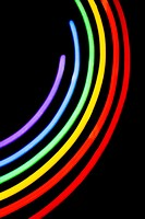 Close-up of a neon illuminating gay pride symbol