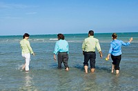 Rear view of two mid adult couples wading on the beach