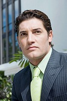 Close-up of a businessman looking serious