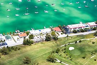 Aerial view of tourist resorts along the sea, Florida Keys, Florida, USA
