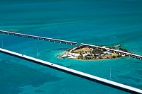 Aerial view of two bridges and an island, Florida Keys, Florida, USA