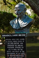Close-up of a statue of Mahatma Gandhi in a park, Lake Eola Park, Orlando, Florida, USA