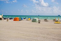 Tents on the beach, South Beach, Miami Beach, Florida, USA
