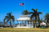 Building surrounded by palm trees in a park, Bayview Park, Key West, Florida, USA