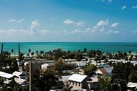 High angle view of buildings in a city, Key West, Florida, USA