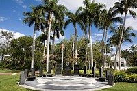 Memorials in a park, Las Olas Boulevard, Fort Lauderdale, Florida, USA