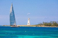 Sailboat in the sea, Paradise Beach, Bahamas
