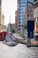 Submarine at a harbor, National Aquarium, Inner Harbor, Baltimore, Maryland, USA (thumbnail)