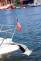American flag on a ship's bow, Baltimore, Maryland, USA