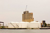 Storage tanks at the waterfront, Baltimore, Maryland, USA