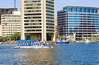Tourboat in the sea, World Trade Center, Inner Harbor, Baltimore, Maryland, USA