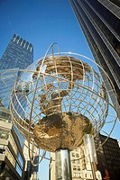 Low angle view of a globe at Columbus circle, Manhattan, New York City, New York State, USA