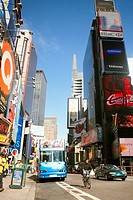 Bus on a road, Times Square, Manhattan, New York City, New York State, USA