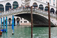 Group of people on the bridge, Rialto Bridge, Grand Canal, Venice, Italy