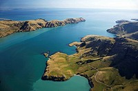 Purau Bay (bottom left), and Godley Head (top) Lyttelton Harbour, Canterbury, South Island, New Zealand