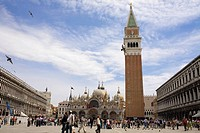 Low angle view of a bell tower, St  Mark's Cathedral, St  Mark's Square, Venice, Italy