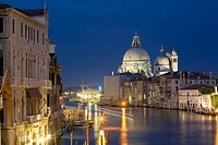 Church lit up at night, Santa Maria Della Salute, Grand Canal, Venice, Italy