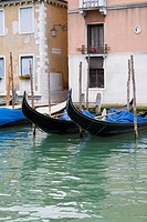 Gondolas docked in front of buildings, Venice, Italy