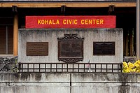 Information board on a building, Kohala Civic Center, Kapaau, Big Island, Hawaii Islands, USA