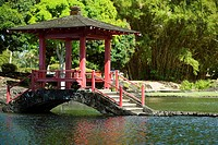 Gazebo in a park, Liliuokalani Park And Gardens, Hilo, Hawaii Islands, USA