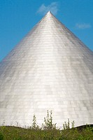 Low angle view of a cone shaped observatory, Imiloa Astronomy Center Of Hawaii, Hilo, Hawaii Islands, USA
