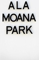 Close-up of a signboard, Ala Moana Beach Park, Honolulu, Oahu, Hawaii Islands, USA