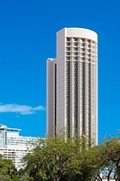Low angle view of a skyscraper in a city, Honolulu, Oahu, Hawaii Islands, USA