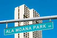 Low angle view of a signboard, Ala Moana Beach Park, Honolulu, Oahu, Hawaii Islands, USA