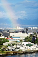 Rainbow over a city, Honolulu, Oahu, Hawaii Islands, USA
