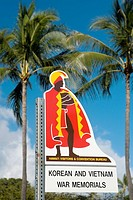Low angle view of a memorial signboard, Honolulu, Oahu, Hawaii Islands, USA