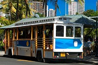 Bus parked at the roadside, Honolulu, Oahu, Hawaii Islands, USA