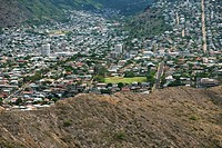 Aerial view of a cityscape, Diamond Head, Waikiki Beach, Honolulu, Oahu, Hawaii Islands, USA