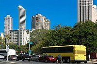 Traffic moving on the road in a city, Honolulu, Oahu, Hawaii Islands, USA
