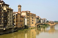 River in front of buildings, Ponte Alle Grazie, Arno River, Florence, Tuscany, Italy