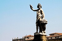 Low angle view of a statue, Ponte Santa Trinita Bridge, Florence, Tuscany, Italy