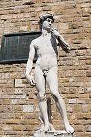 Statue in front of a brick wall, Michelangelo's David, Piazza Della Signoria, Florence, Italy
