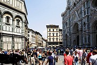 Tourists on a road, Florence, Tuscany, Italy