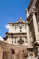 Low angle view of a church, Santi Luca e Martina, Rome, Italy