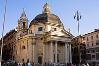 Tourists in front of a church, Santa Maria Di Montesanto, Piazza Del Popolo, Rome, Italy