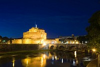 Bridge across a river, Ponte Sant Angelo, Hadrian's Tomb, Tiber River, Rome, Italy