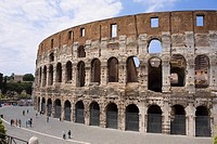 High angle view of a group of people in front of an amphitheater, Coliseum, Rome, Italy