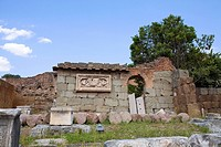 Low angle view of the old ruins of a building, Roman Forum, Rome, Italy