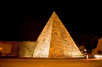 Pyramid lit up at night, Pyramid of Cestius, Rome, Italy