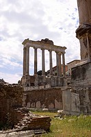 Old ruins of a temple, Faustina Temple, Rome, Italy