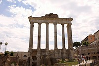 Low angle view of old ruins of columns, Rome, Italy