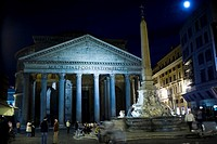 Obelisk in front of a pantheon, Obelisk Macuteo, Pantheon Rome, Rome, Italy