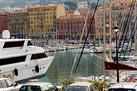 Boats moored at a harbor, Bassin Lympia, Nice, France
