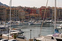 Boats moored at a harbor, Nice, France