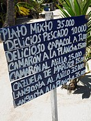 Close-up of a menu board, Providencia, Providencia y Santa Catalina, San Andres y Providencia Department, Colombia